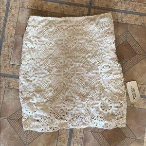 Cream crocheted mini skirt